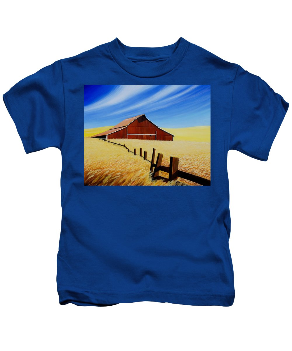 Barn Kids T-Shirt featuring the painting Stable near St. Johns by Leonard Heid