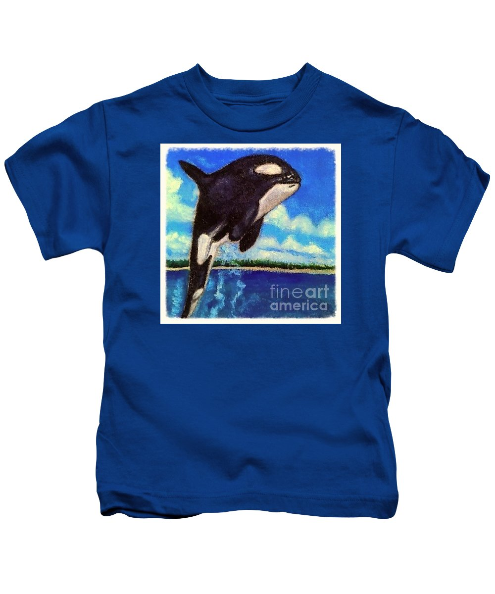 Featured In The fabric And Clothing Group Nature Aquatic Water Scene Inspirational Message Black And White Killer Whale Blue Sky With Light Clouds Aquamarine Water Kids T-Shirt featuring the painting Standing Above The Rest by Kimberlee Baxter