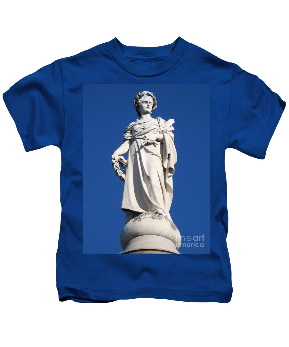 Soliders Kids T-Shirt featuring the photograph Statue Gettysburg by Eric Schiabor