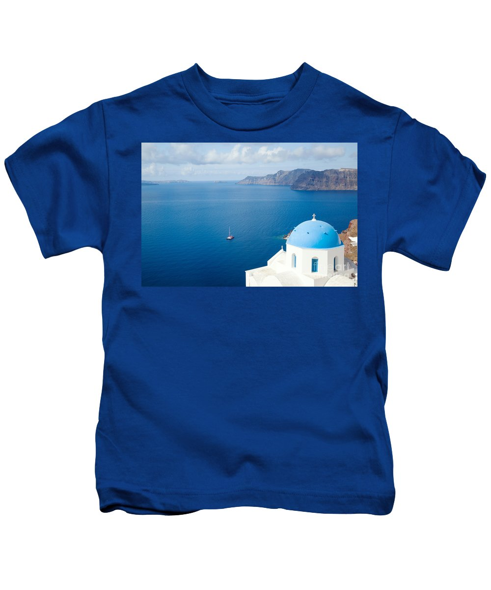Summer Kids T-Shirt featuring the photograph Summer In Santorini - Greece by Matteo Colombo