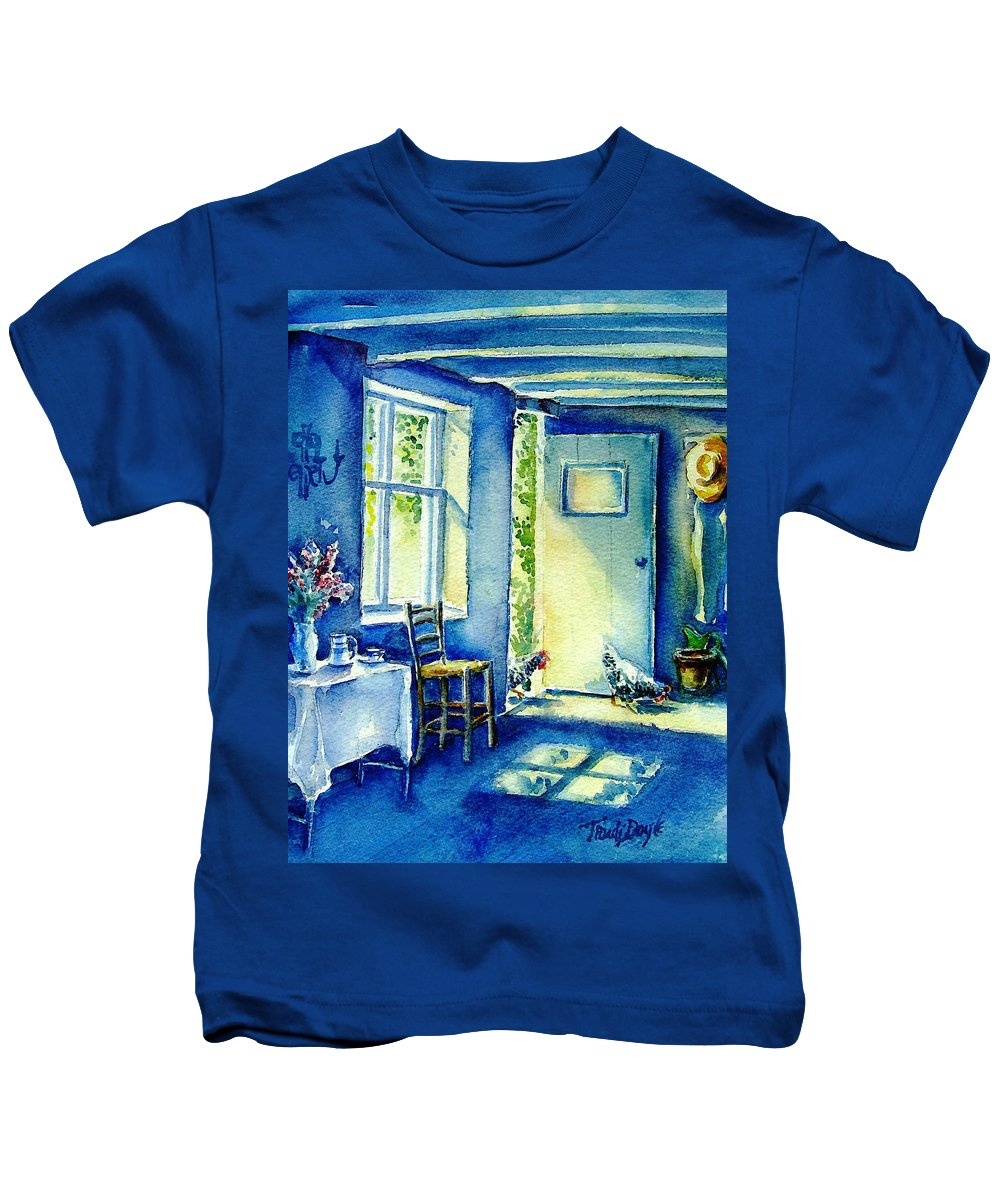Summer Morning Kids T-Shirt featuring the painting Summer Morning Visitors by Trudi Doyle