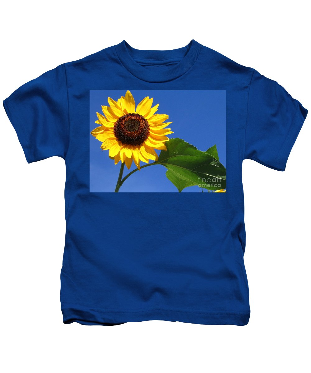Sunflower Kids T-Shirt featuring the photograph Sunflower Alone by Line Gagne