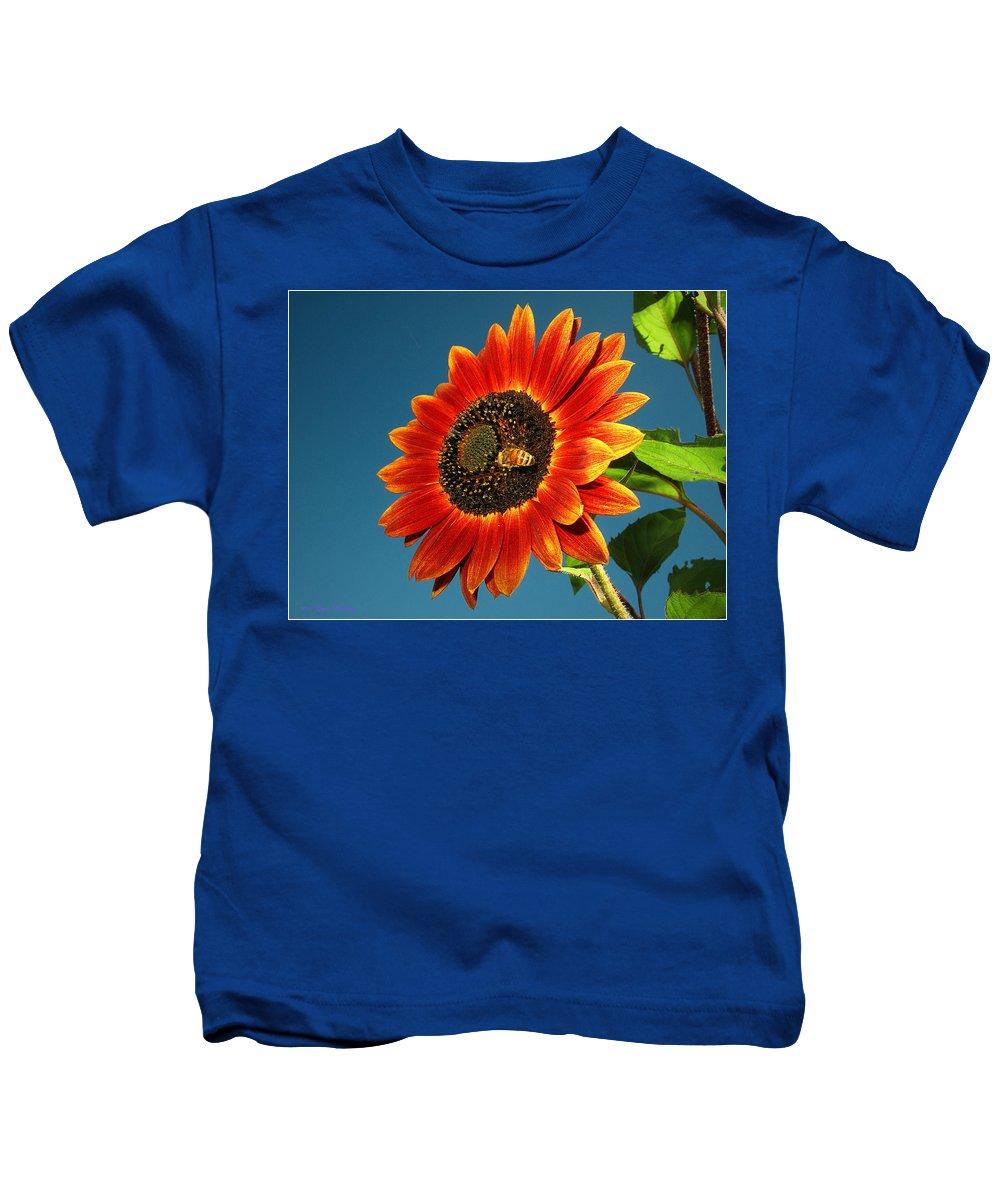 Sunflower Kids T-Shirt featuring the photograph Sunflower Honey Bee by Joyce Dickens