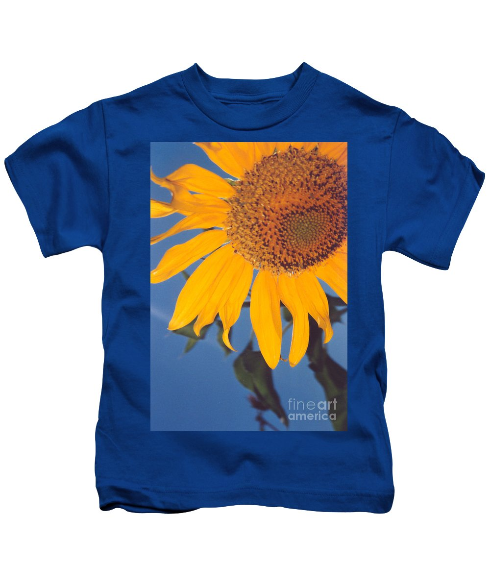 Flower Kids T-Shirt featuring the photograph Sunflower In The Corner by Heather Kirk
