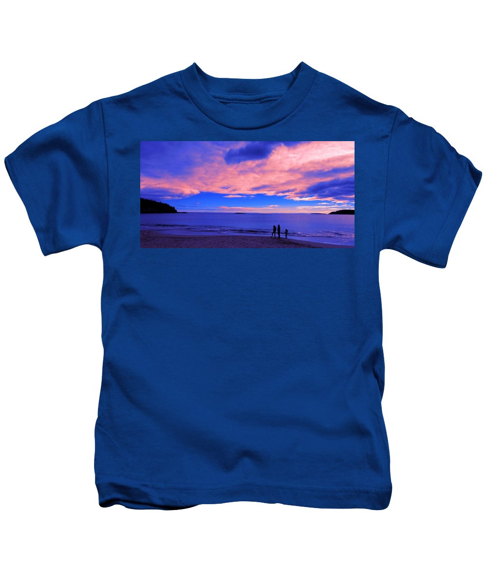 Sunset Kids T-Shirt featuring the painting Sunset On Sand Beach Acadia National Park Maine by Paul Ge