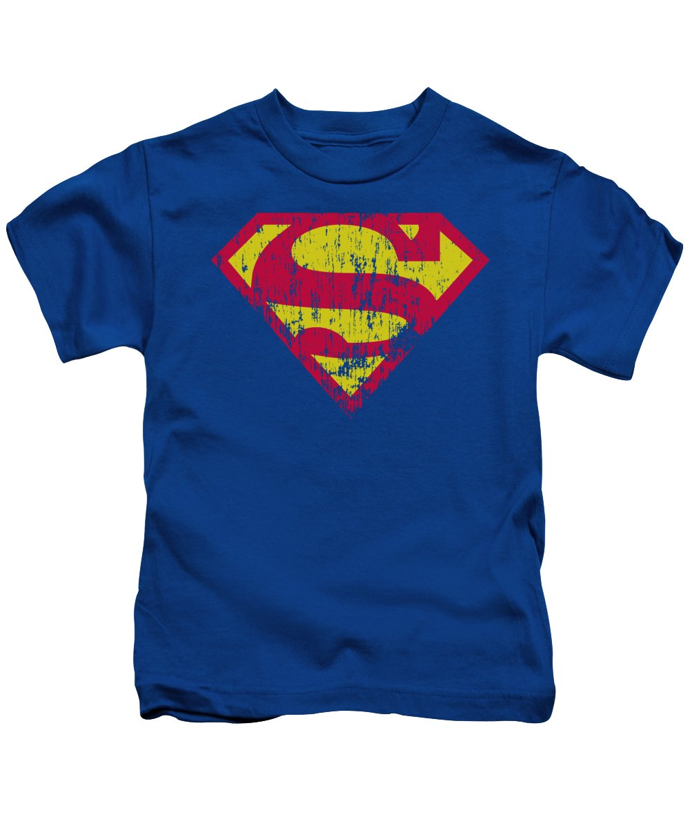 Superman Kids T-Shirt featuring the digital art Superman - Classic Logo Distressed by Brand A