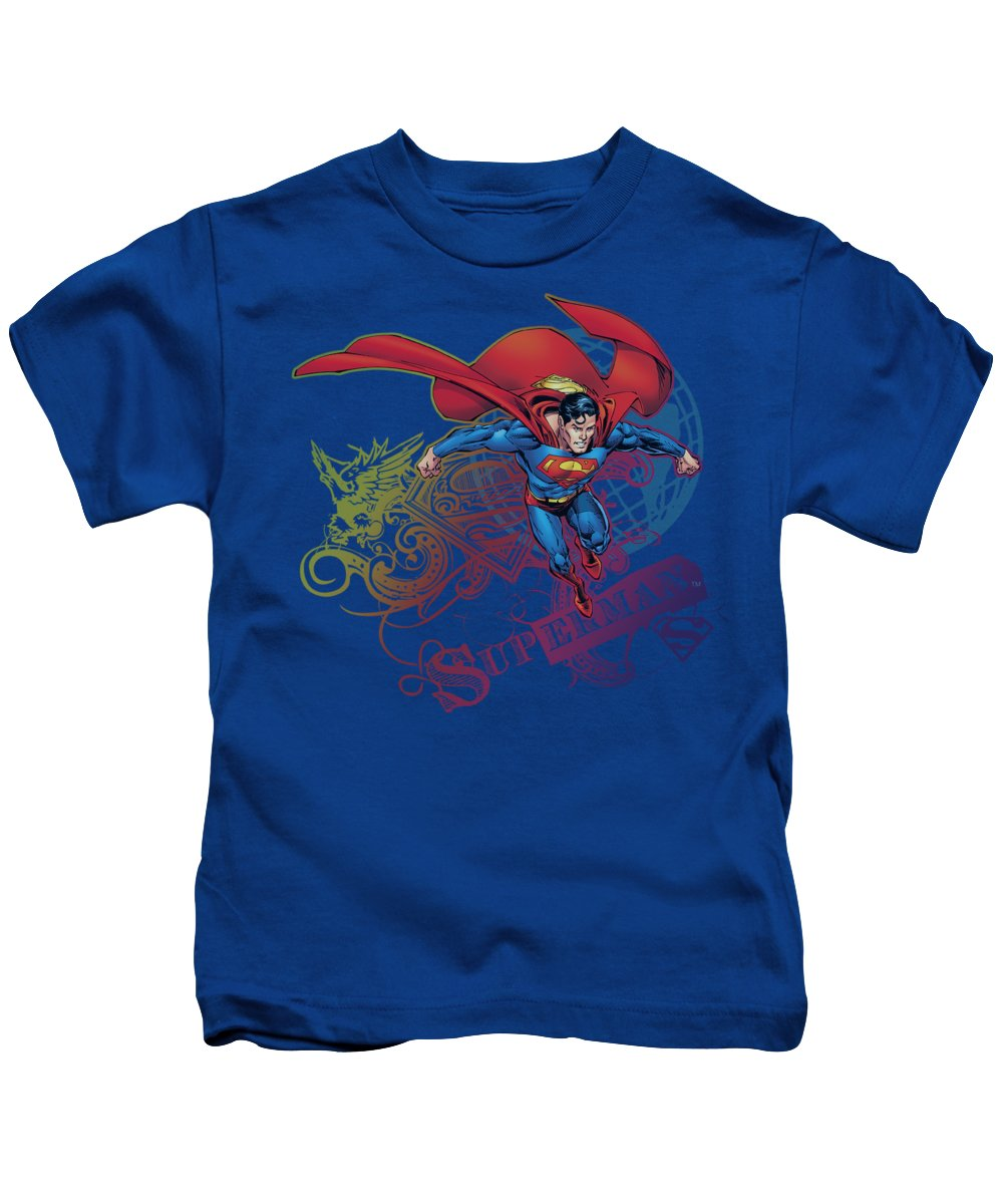 Superman Kids T-Shirt featuring the digital art Superman - Cool Word Supes by Brand A