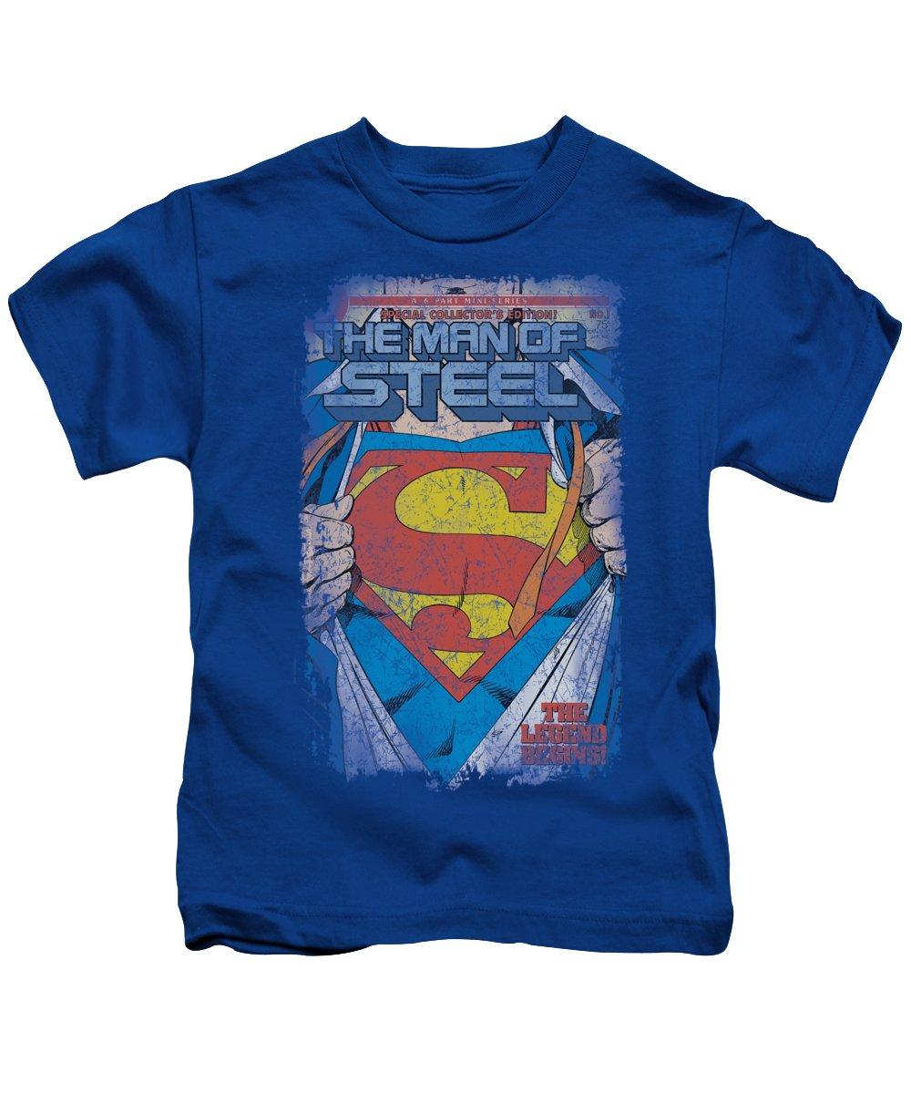 Superman Kids T-Shirt featuring the digital art Superman - Legendary by Brand A