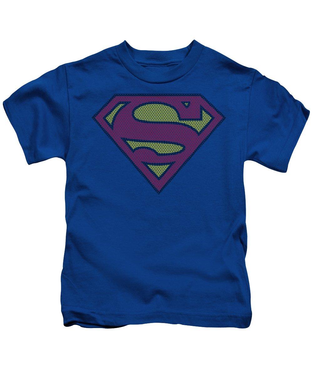 Superman Kids T-Shirt featuring the digital art Superman - Little Logos by Brand A