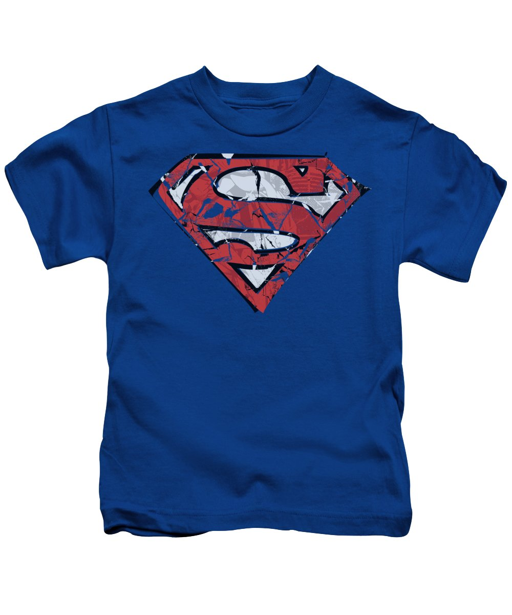 Superman Kids T-Shirt featuring the digital art Superman - Ripped And Shredded by Brand A
