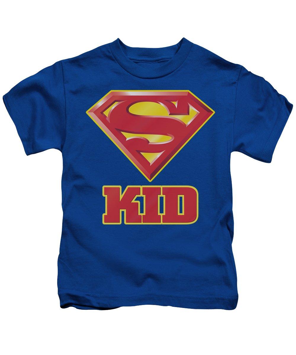 Superman Kids T-Shirt featuring the digital art Superman - Super Kid by Brand A
