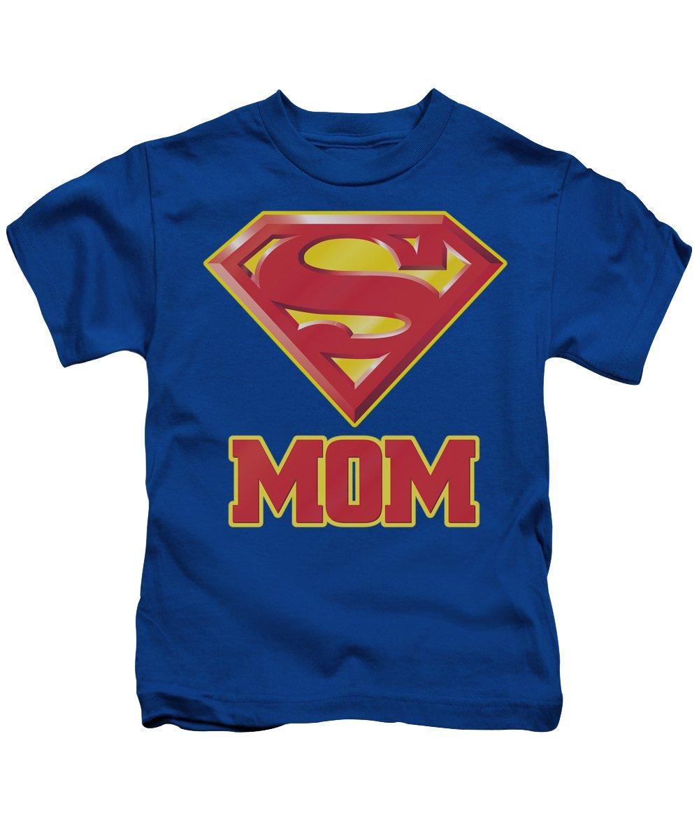 Superman Kids T-Shirt featuring the digital art Superman - Super Mom by Brand A