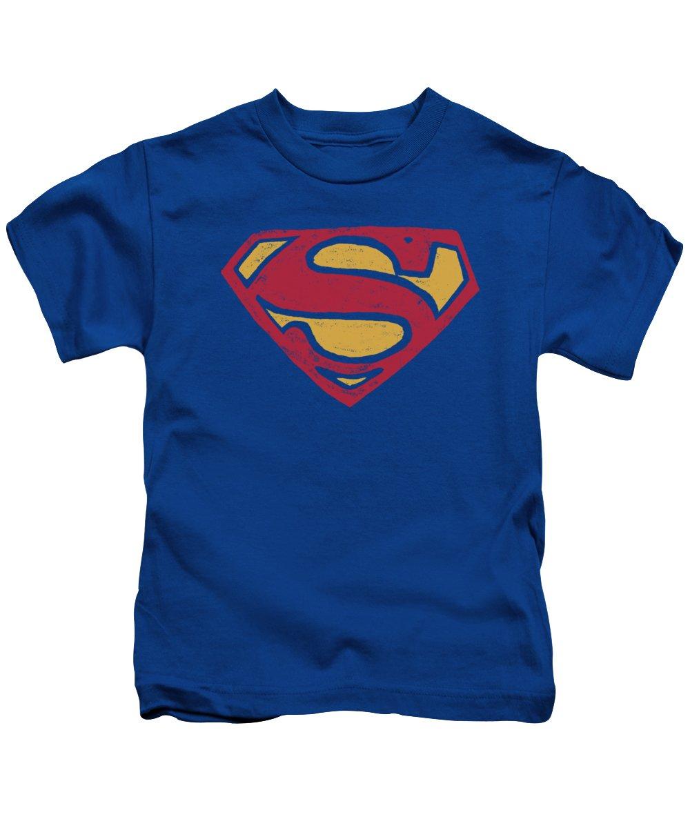 Superman Kids T-Shirt featuring the digital art Superman - Super Rough by Brand A