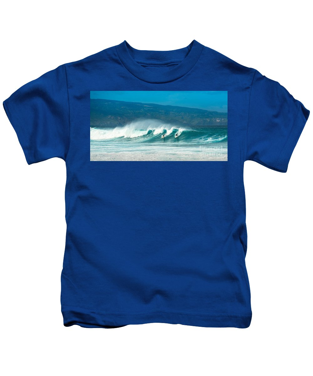 Hookipa Beach Kids T-Shirt featuring the photograph Surfing Duel by Jamie Pham
