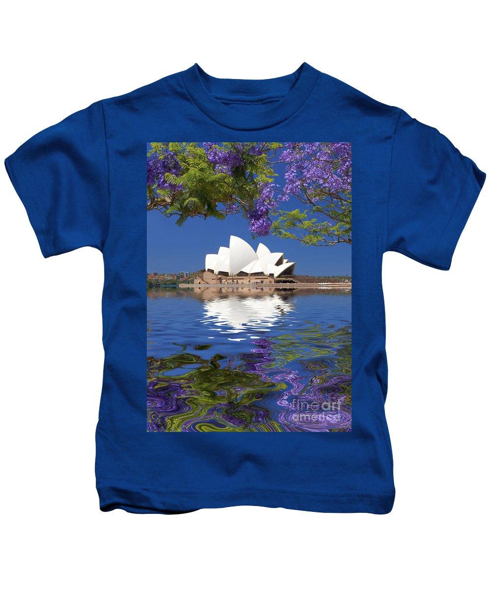 Sydney Opera House Kids T-Shirt featuring the photograph Sydney Opera House with jacaranda reflection by Sheila Smart Fine Art Photography
