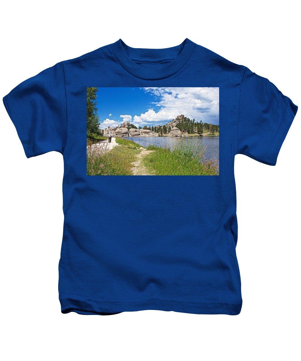 Sylvan Lake Trail In Custer State Park Kids T-Shirt featuring the photograph Sylvan Lake Trail In Custer State Park-south Dakota by Ruth Hager