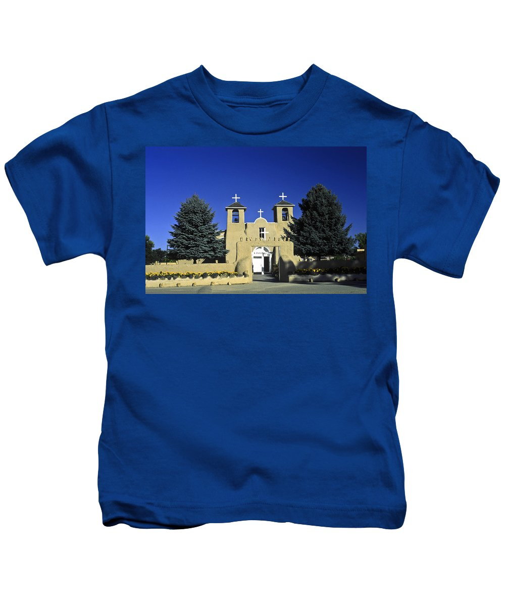 St. Francis Of Assisi Catholic Church Kids T-Shirt featuring the photograph Taos Adobe Church by Sally Weigand