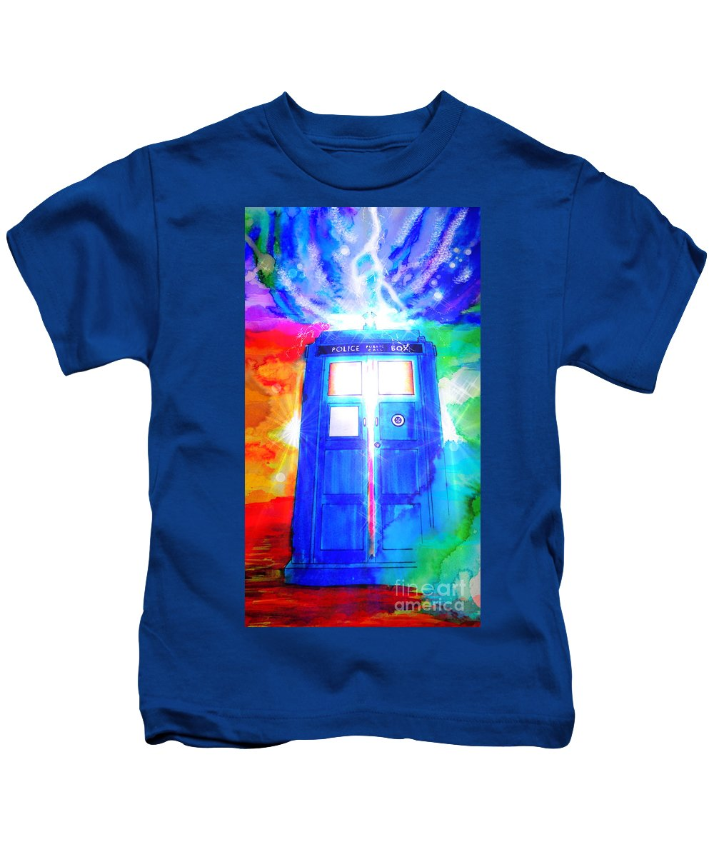 Justin W Moore Kids T-Shirt featuring the drawing Tardis by Justin Moore