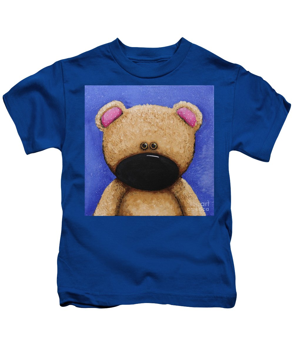 Whimsical Kids T-Shirt featuring the painting Teddy Bear by Lucia Stewart