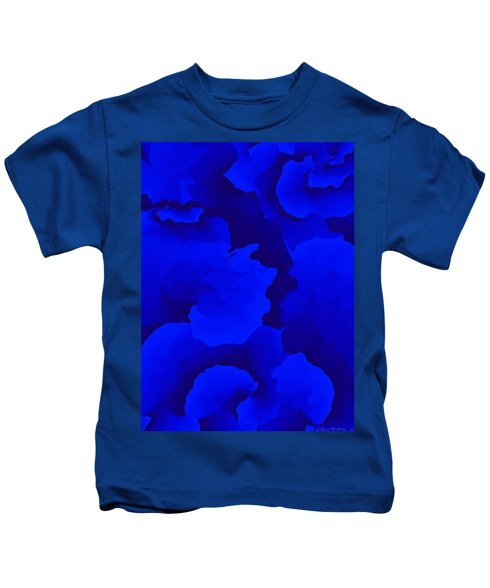 Fine Art Kids T-Shirt featuring the digital art Ten Minute Floral In Blue 122612 by David Lane