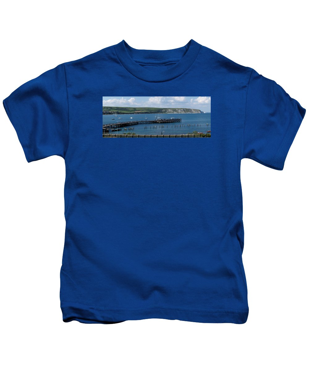 The Bay At Swanage Kids T-Shirt featuring the photograph The Bay At Swanage by Wendy Wilton
