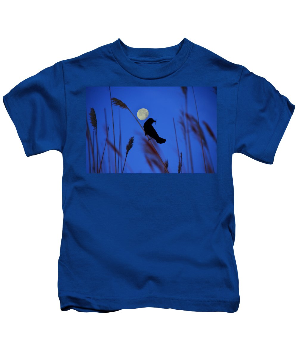 Blackbird Kids T-Shirt featuring the photograph The Blackbird And The Moon by Bill Cannon