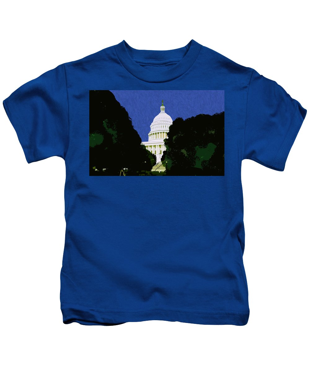 Capitol Kids T-Shirt featuring the painting The Capitol by Pharris Art
