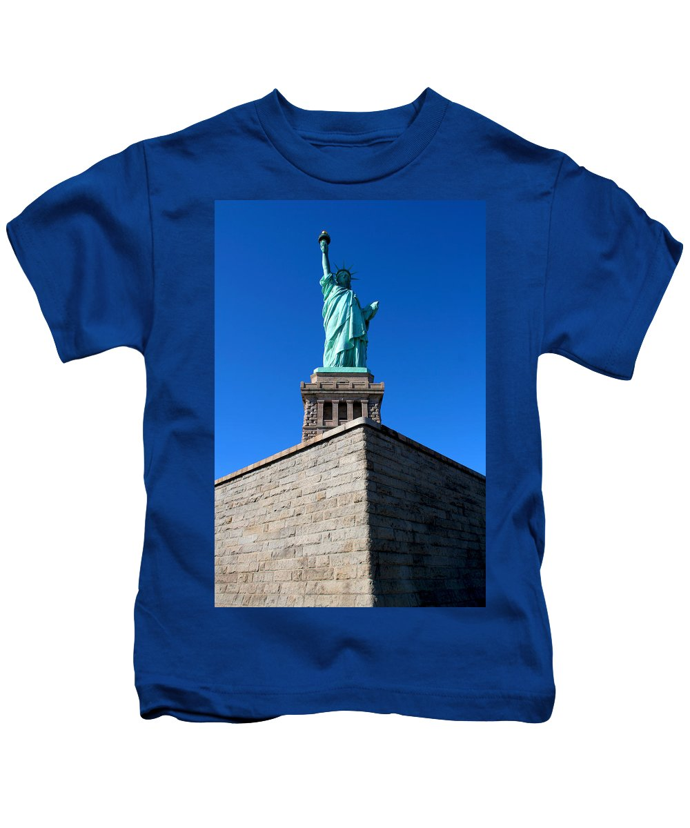 Statue Of Liberty Kids T-Shirt featuring the photograph The Statue by Allan Lovell