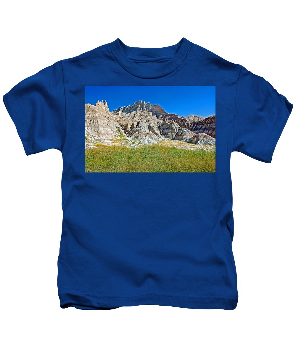 Trailhead For Saddle Pass Trail In Badlands National Park Kids T-Shirt featuring the photograph Trailhead For Saddle Pass Trail In Badlands National Park-south Dakota  by Ruth Hager