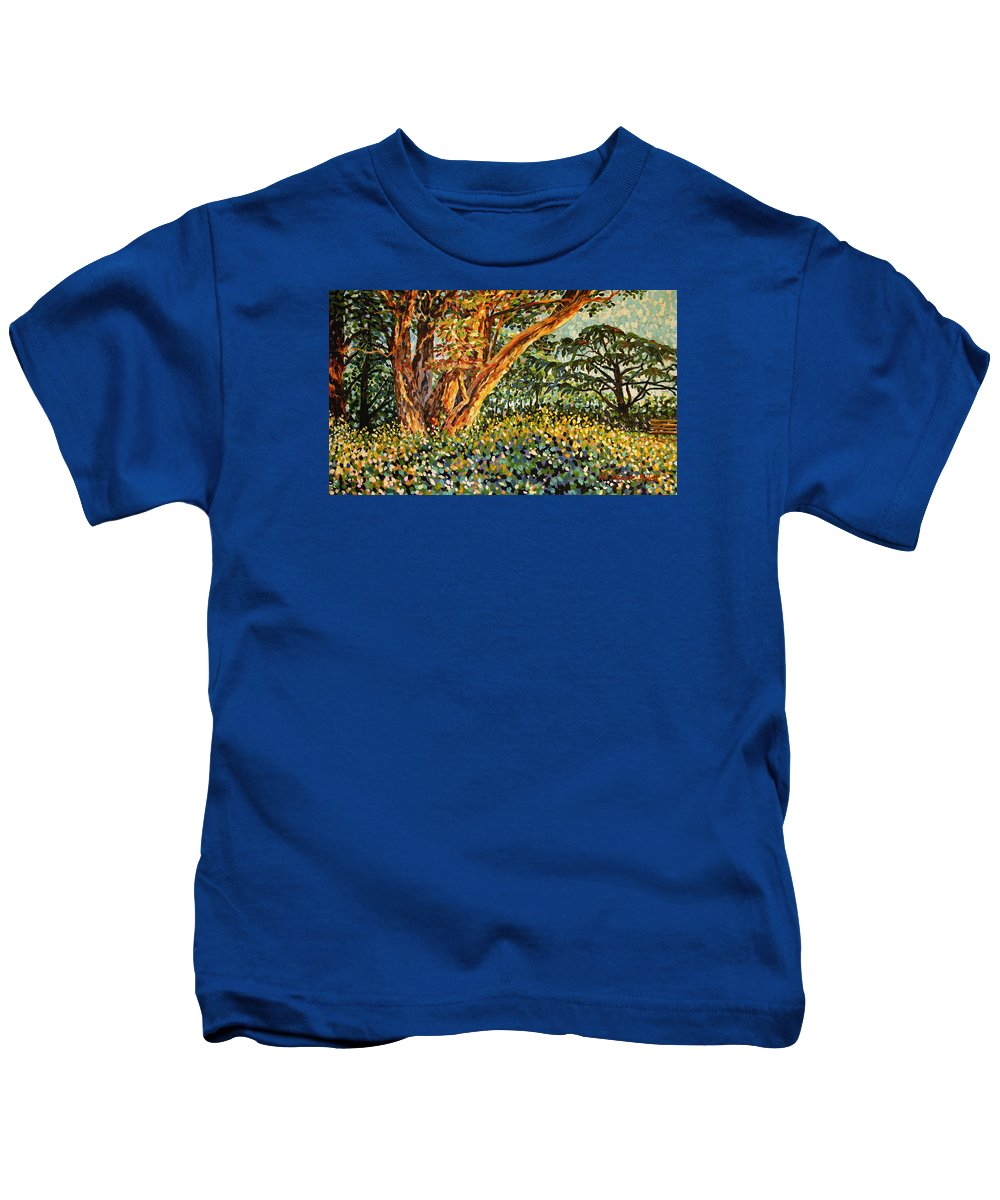 Bonnie Follett Kids T-Shirt featuring the painting Trees At Sunset In Lafayette Park by Bonnie Follett