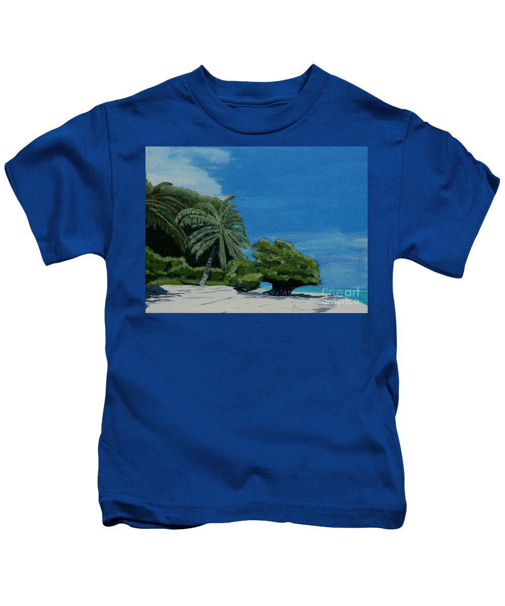 Beach Kids T-Shirt featuring the painting Tropical Beach by Anthony Dunphy