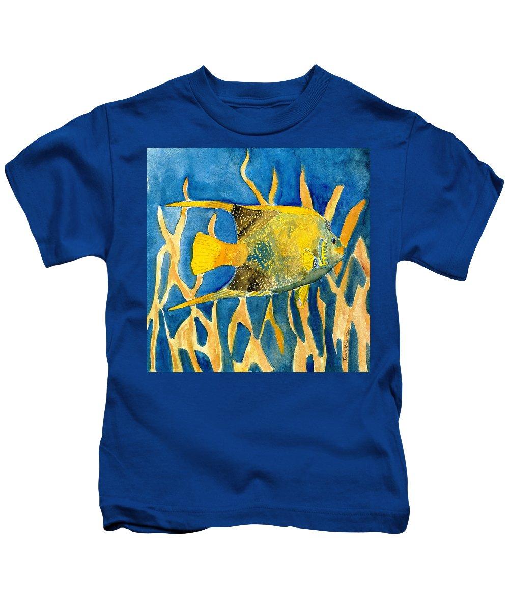 Tropical Kids T-Shirt featuring the painting Tropical Fish Art Print by Derek Mccrea