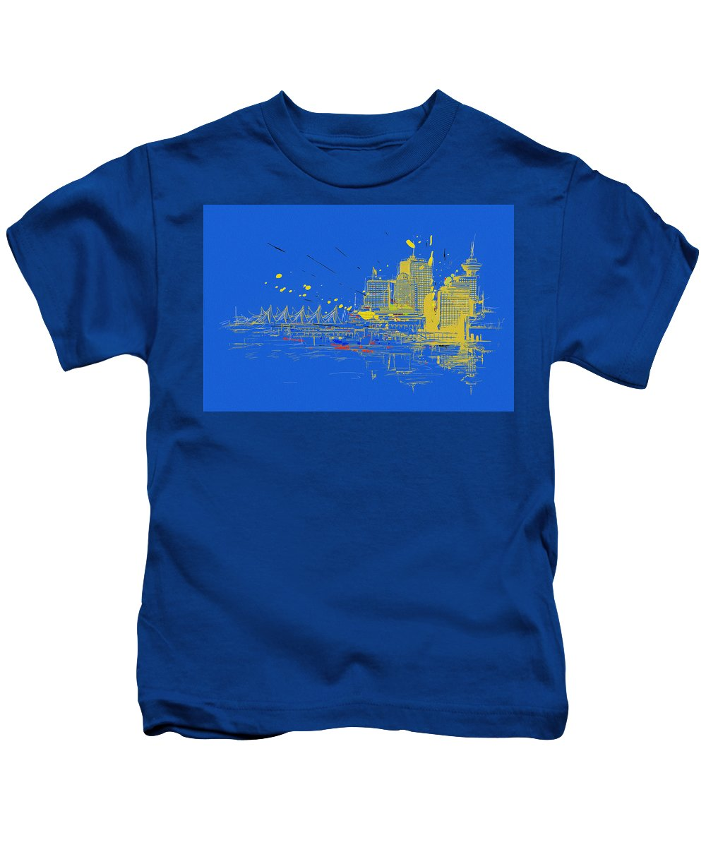 Vancouver Kids T-Shirt featuring the painting Vancouver Art 005 by Catf