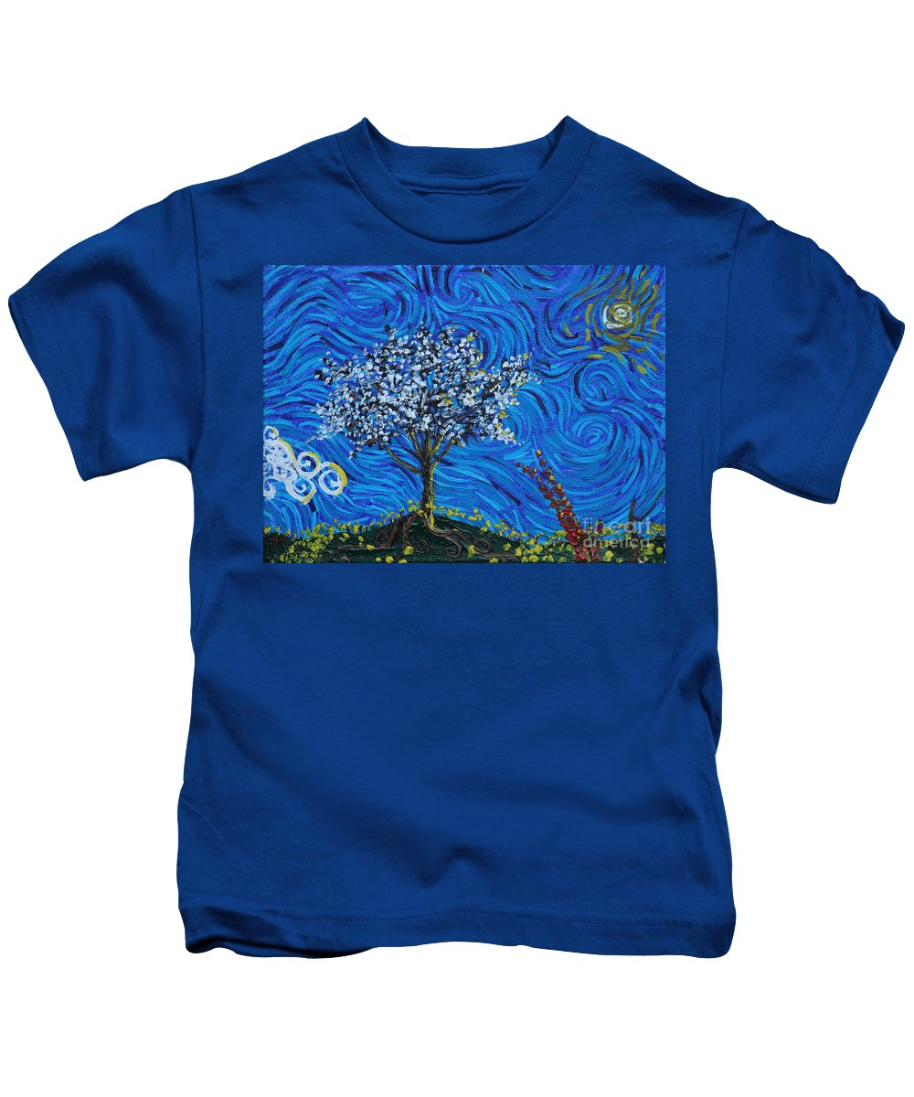 Landscape Kids T-Shirt featuring the painting When Squiggles Swim by Stefan Duncan