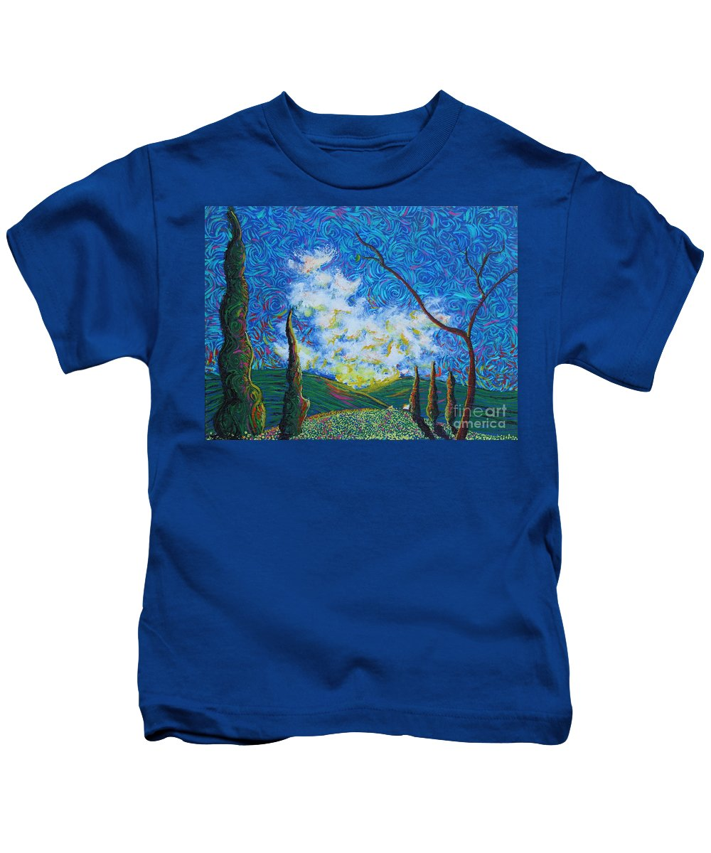 Landscape Kids T-Shirt featuring the painting Why by Stefan Duncan