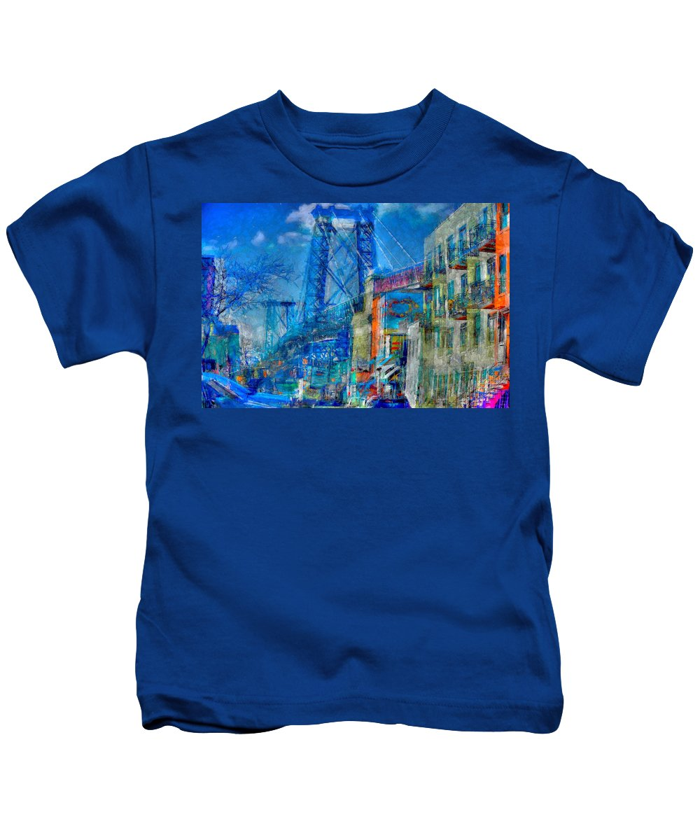 New York Kids T-Shirt featuring the photograph Williamsburg Street Abstract by Jeff Watts