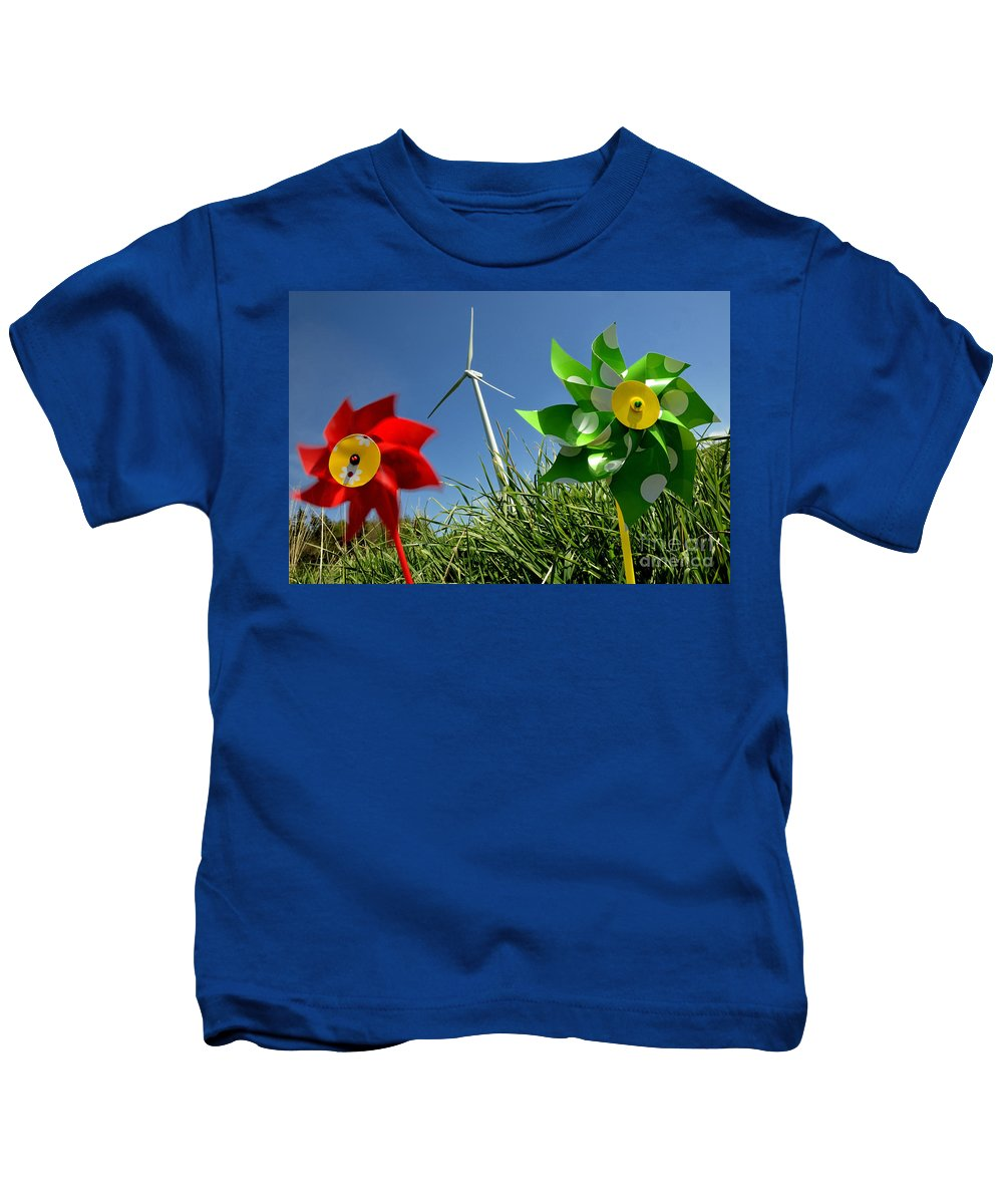 Air Kids T-Shirt featuring the photograph Wind Turbines And Toys by Bernard Jaubert