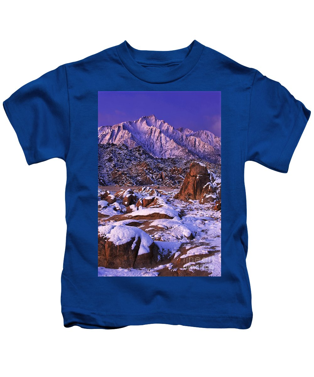 North America Scenic Kids T-Shirt featuring the photograph Winter Morning Alabama Hills And Eastern Sierras by Dave Welling