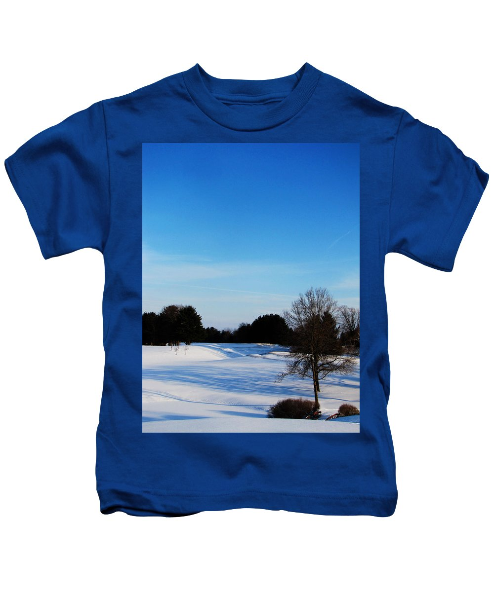 Ron Tackett Kids T-Shirt featuring the photograph Winter Shadows by Ron Tackett