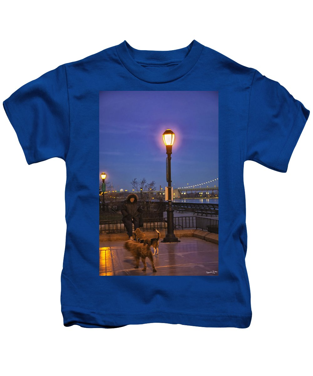 Dogs Kids T-Shirt featuring the photograph Woman With Her Dogs by Madeline Ellis