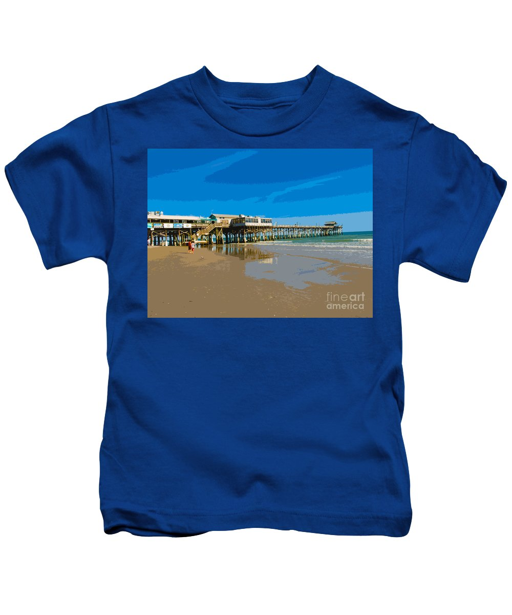 Pier Kids T-Shirt featuring the painting Cocoa Beach Pier Florida by Allan Hughes