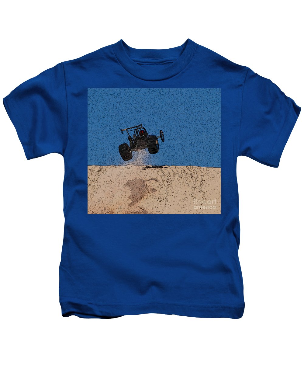 Silver Lake Sand Dunes Kids T-Shirt featuring the photograph Dune Buggy Jump by Grace Grogan