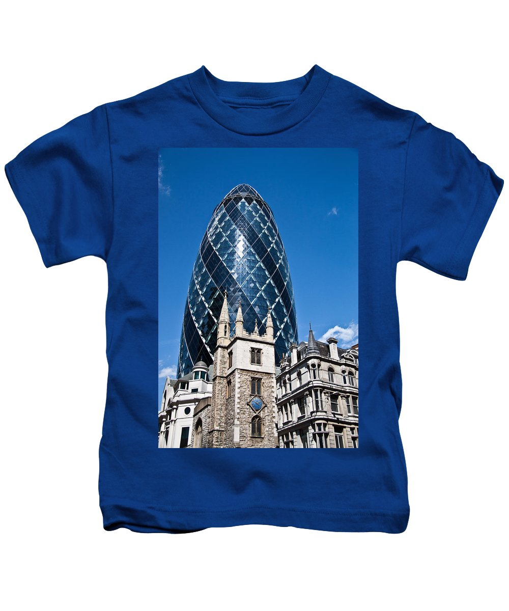 Gherkin Kids T-Shirt featuring the photograph The Old And New by Dawn OConnor