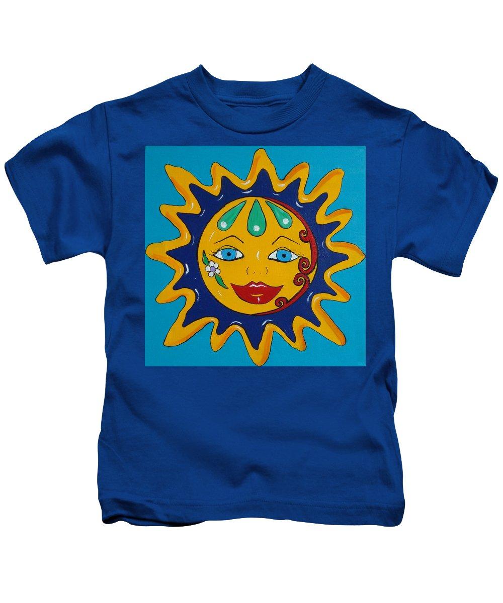 Talavera Kids T-Shirt featuring the painting Talavera Sun by Melinda Etzold