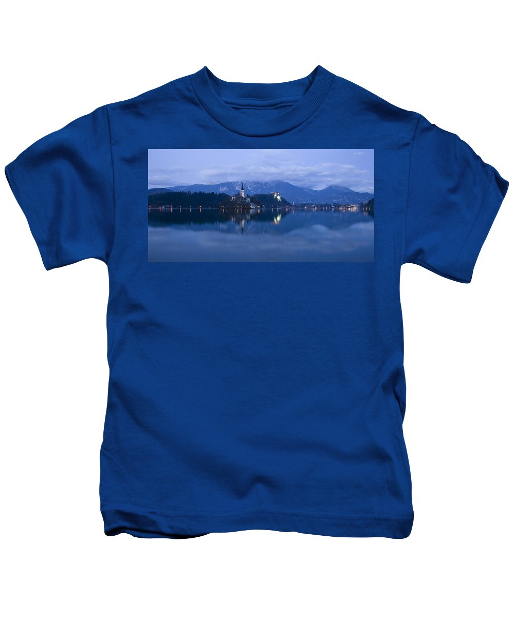 Bled Kids T-Shirt featuring the photograph Dusk Over Lake Bled by Ian Middleton