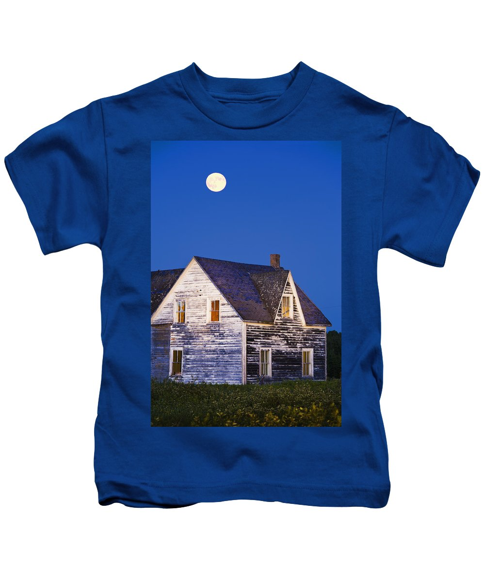 Blue Kids T-Shirt featuring the photograph Abandoned House And Moon At Dusk by Yves Marcoux