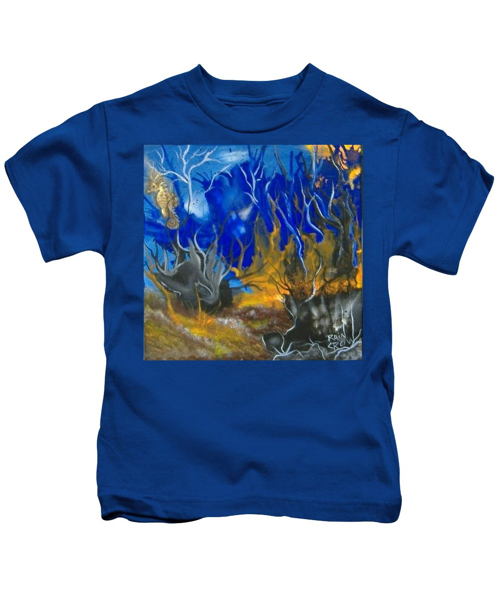 Abstract Kids T-Shirt featuring the painting Atlantean Seascape by Rain Crow