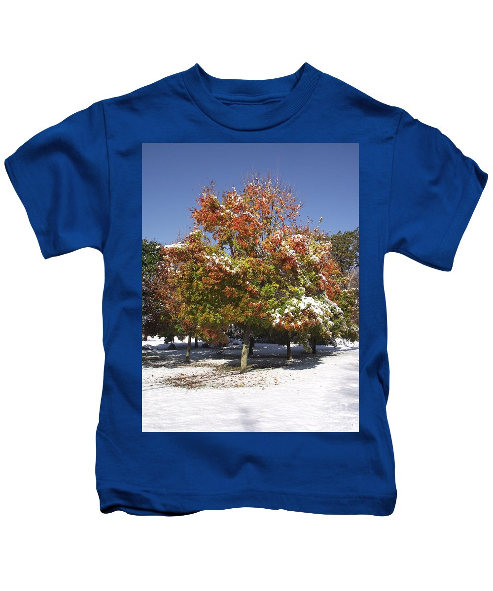 Landscape Kids T-Shirt featuring the photograph Autumn Snow by Michelle Welles