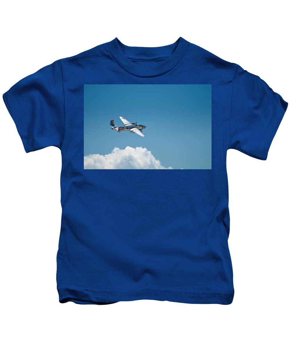 b 25 Mitchel Bomber Kids T-Shirt featuring the photograph B25 Mitchell Bomber - Making The Turn by Paul Mangold