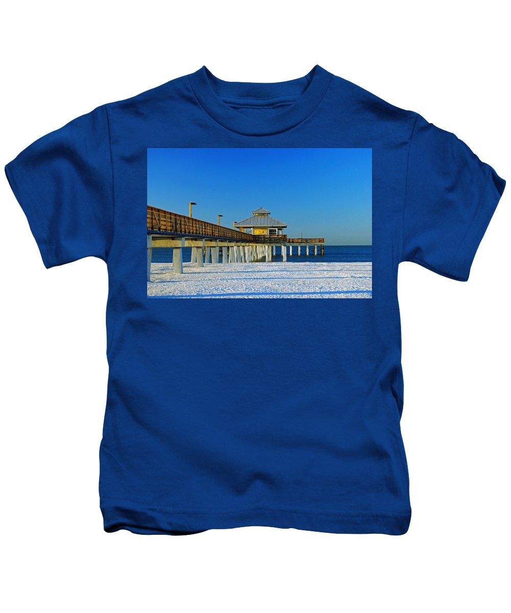 Blue Sky Kids T-Shirt featuring the photograph Beach Pier by Gary Wonning